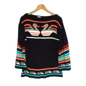 Vintage Queens Way To Fashion Tribal Swan Sweater